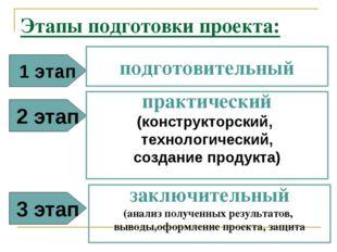 Этапы подготовки проекта: 1 этап подготовительный 2 этап практический (констр