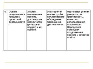 6.Оценка результатов и процесса проектной деятельности.Анализ выполнения пр