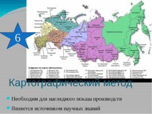 Картографический метод Необходим для наглядного показа производств Является и