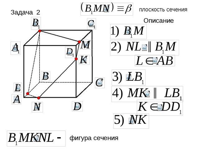 плоскость сечения Описание фигура сечения ║ ║ Задача 2