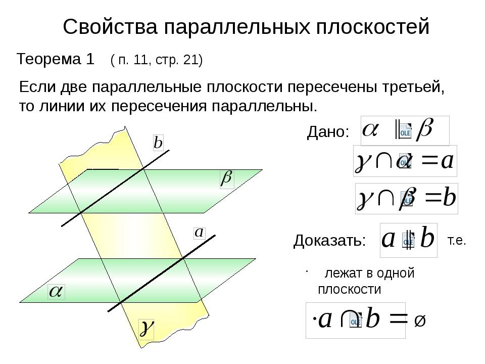 Свойства параллельных плоскостей Теорема 1 ( п. 11, стр. 21) Если две паралле...