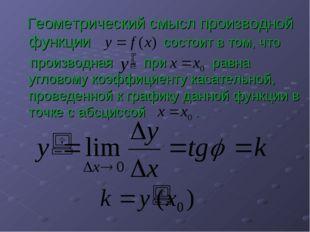 Геометрический смысл производной функции состоит в том, что производная при