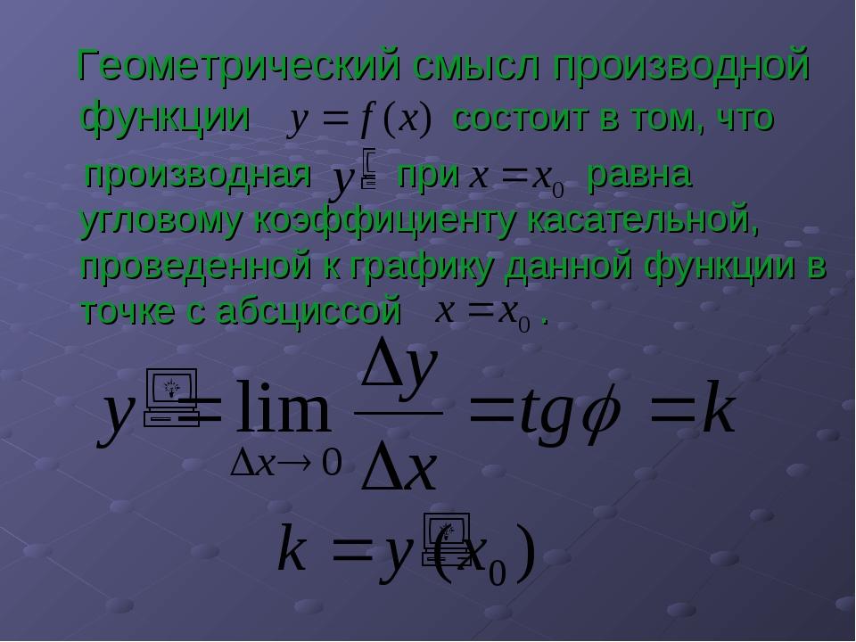 Геометрический смысл производной функции состоит в том, что производная при...