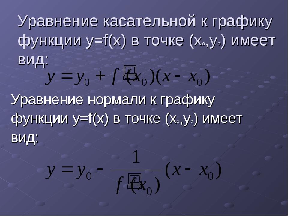 Уравнение касательной к графику функции y=f(x) в точке (xo,yo) имеет вид: Ура...