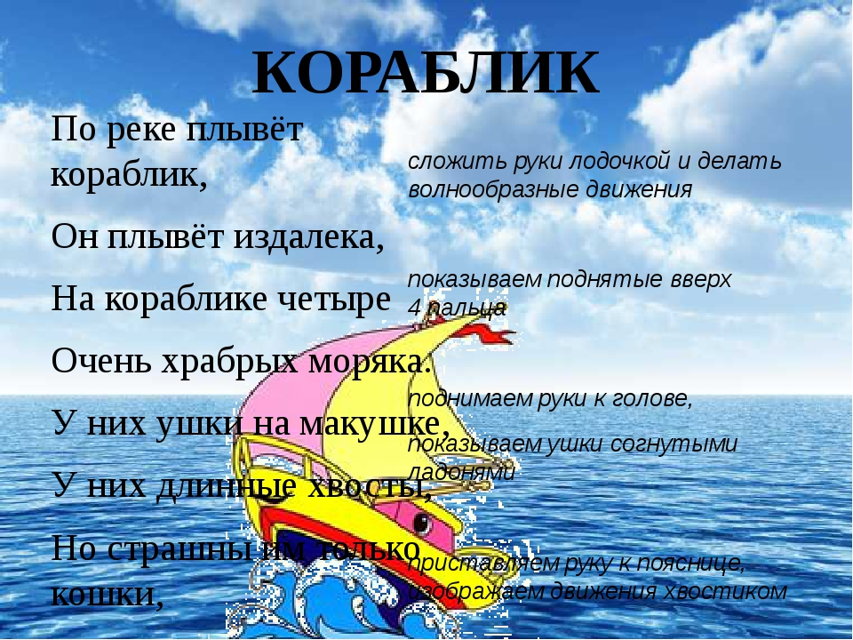 КОРАБЛИК  Пореке плывёт кораблик, Онплывёт издалека, Нак...