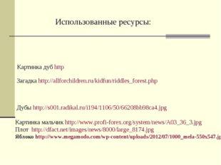 Загадка http://allforchildren.ru/kidfun/riddles_forest.php Дубы http://s001.