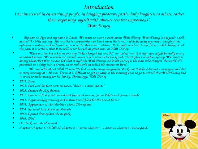 Introduction I am interested in entertaining people, in bringing pleasure, pa...