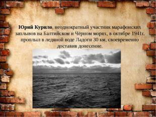 Юрий Курило, неоднократный участник марафонских заплывов на Балтийском и Чёрн