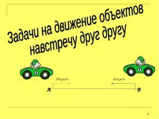 * Ситуация первая А В 20 км/ч. 16 км/ч.