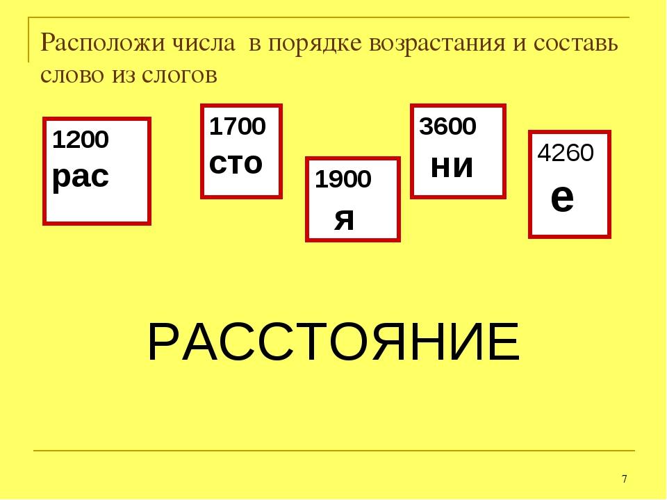 * Расположи числа в порядке возрастания и составь слово из слогов РАССТОЯНИЕ...