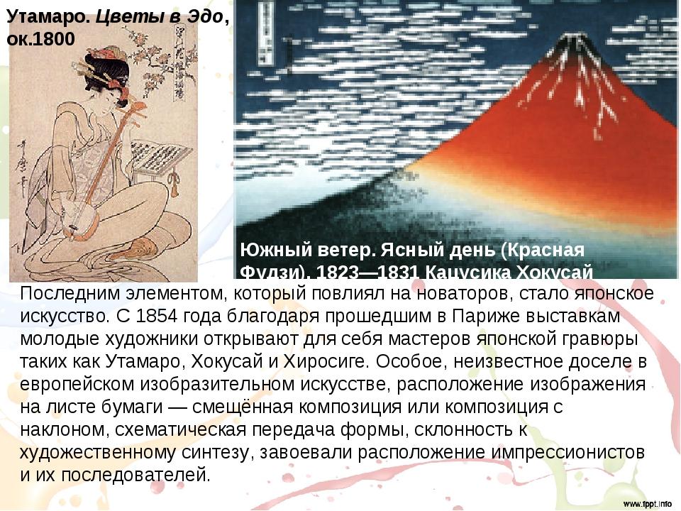 Последним элементом, который повлиял на новаторов, стало японское искусство....