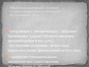 -погружение ( эмоционально – образное проживание художественного шедевра, пр