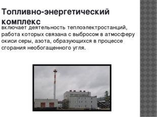 Топливно-энергетический комплекс включает деятельность теплоэлектростанций, р