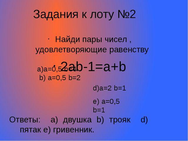 Найди пары чисел , удовлетворяющие равенству 2ab-1=a+b Задания к лоту №2 a)a=...