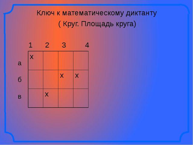Ключ к математическому диктанту ( Круг. Площадь круга) 1 2 3 4 а б в х х х х