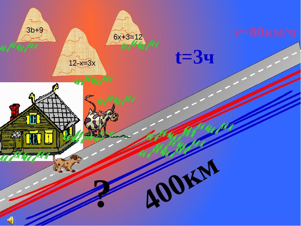 ? 400км 6x+3=12 12-x=3x 3b+9 v=80км/ч t=3ч Г.В. Дорофеев, Л.Г. Петерсон. Мат...