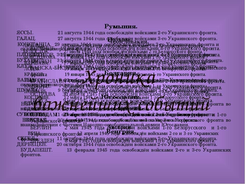 Хроника важнейших событий Румыния. ЯССЫ. 21 августа 1944 года освобождён войс...