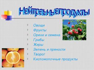 Овощи Фрукты Орехи и семена Грибы Жиры Зелень и пряности Творог Кисломолочные