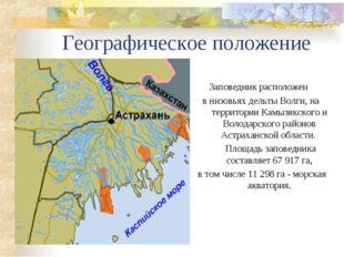 Географическое положение Заповедник расположен в низовьях дельты Волги, на те
