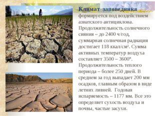 Климат заповедника формируется под воздействием азиатского антициклона. Продо