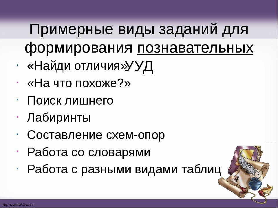 Примерные виды заданий для формирования познавательных УУД «Найди отличия» «Н...