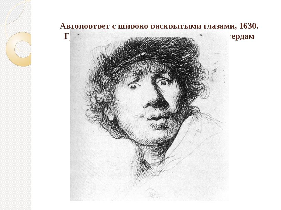 Автопортрет с широко раскрытыми глазами, 1630. Гравюра на меди, 51х46. Риксм...