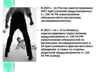 В 2015 г. по России зарегистрировано 2557 преступлений предусмотренных ст. 15