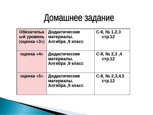 Обязательный уровень (оценка «3»)Дидактические материалы. Алгебра ,9 класс...