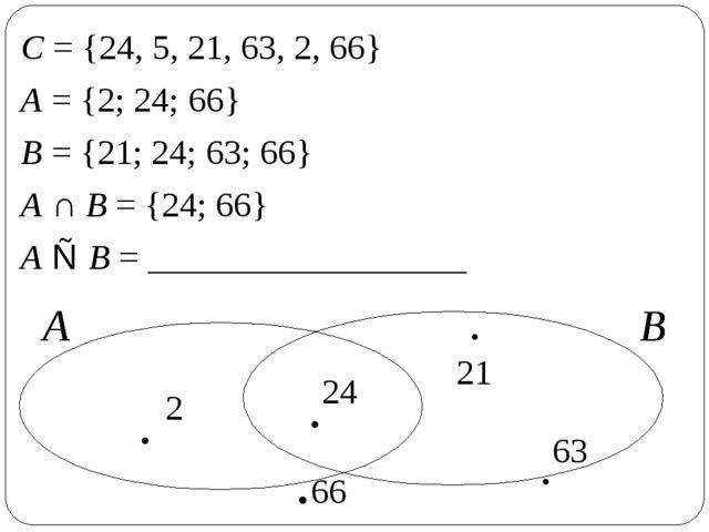 С = {24, 5, 21, 63, 2, 66} А = {2; 24; 66} В = {21; 24; 63; 66} А ∩ В = {24;...
