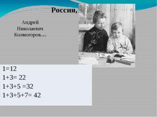 Россия,19-20вв. Андрей Николаевич Колмогоров1+3=22 1=12 1+3= 22 1+3+5 =32 1+3