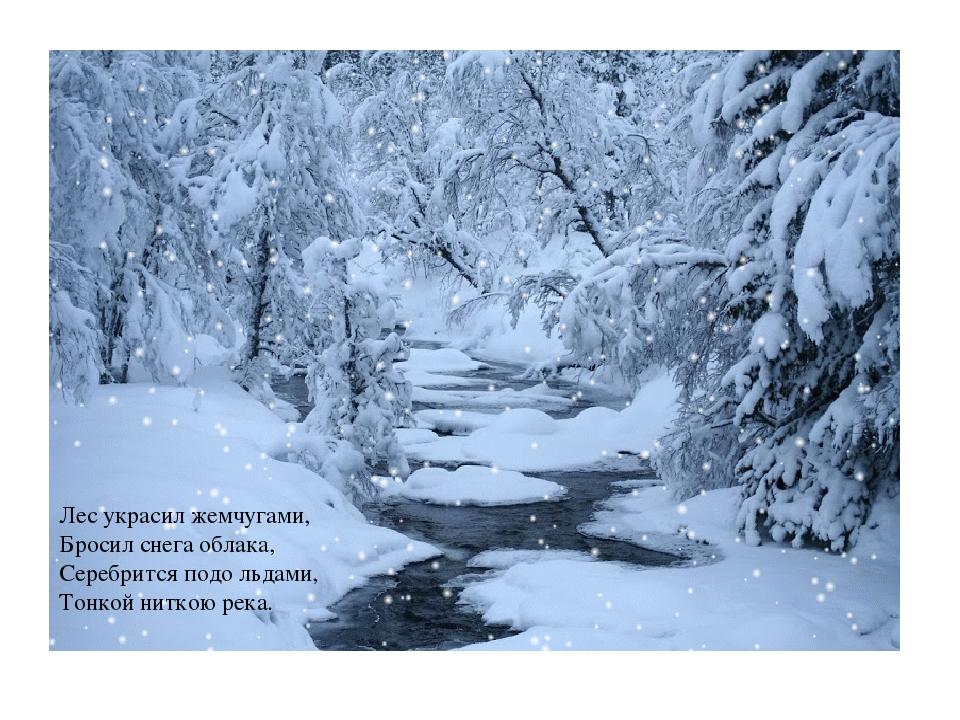 Лес украсил жемчугами, Бросил снега облака, Серебрится подо льдами, Тонкой ни...