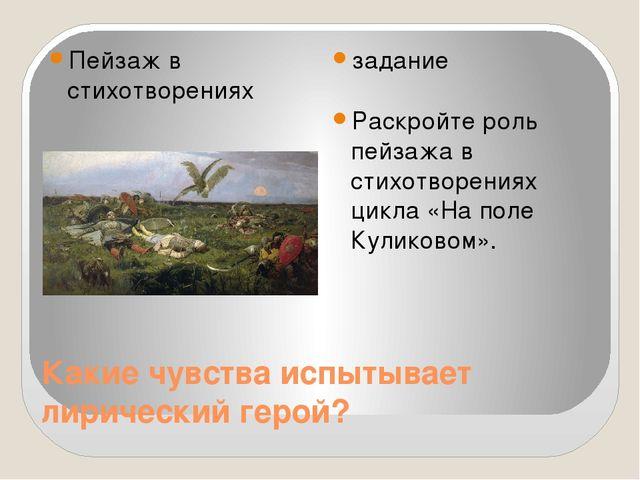 Какие чувства испытывает лирический герой? Пейзаж в стихотворениях задание Ра...