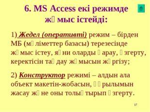 * 6. MS Access екі режимде жұмыс істейді: 1) Жедел (оперативті) режим – бірде