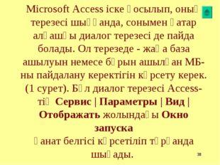* Microsoft Access іске қосылып, оның терезесі шыққанда, сонымен қатар алғашқ