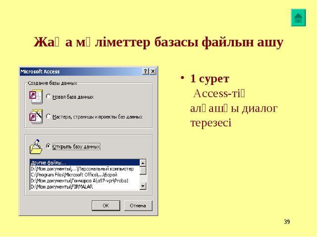 * Жаңа мәліметтер базасы файлын ашу 1 сурет Access-тің алғашқы диалог терезесі
