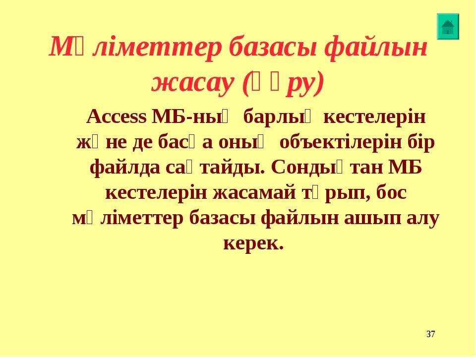 * Мәліметтер базасы файлын жасау (құру) Access МБ-ның барлық кестелерін және...