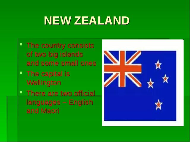 NEW ZEALAND The country consists of two big islands and some small ones The...