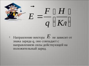 Направление вектора не зависит от знака заряда q, оно совпадает с направление