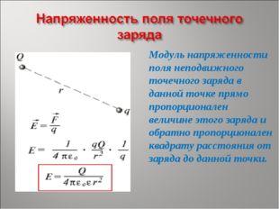Модуль напряженности поля неподвижного точечного заряда в данной точке прямо