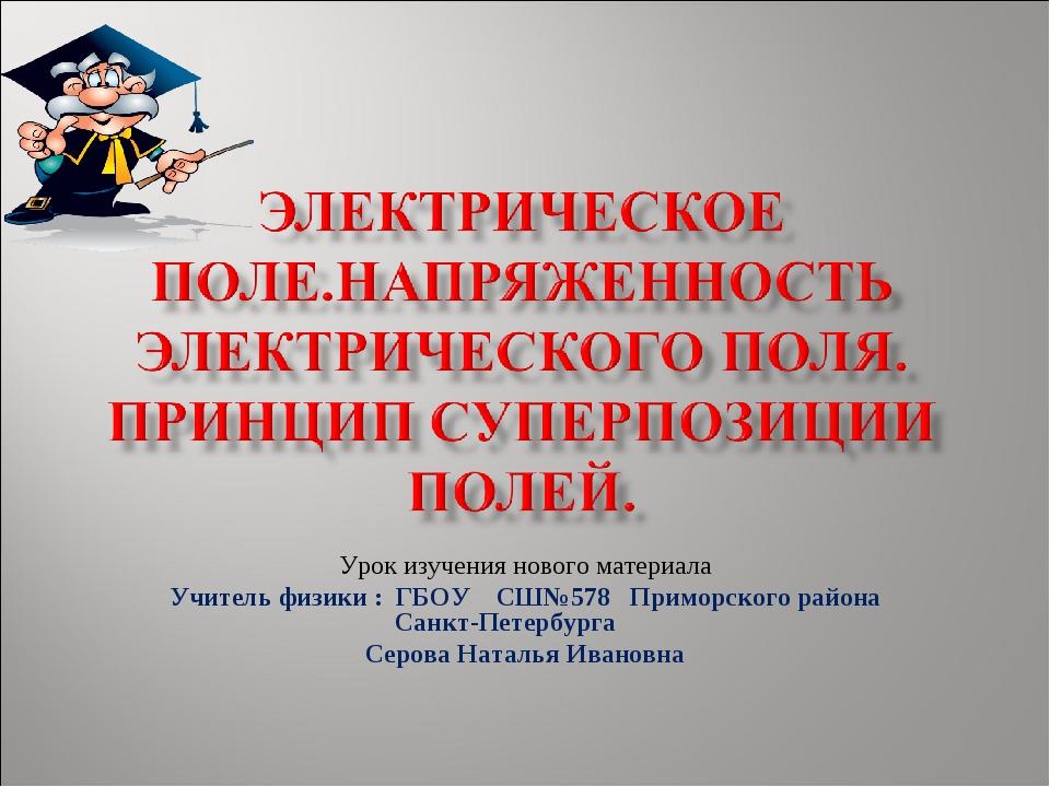 Урок изучения нового материала Учитель физики : ГБОУ СШ№578 Приморского район...