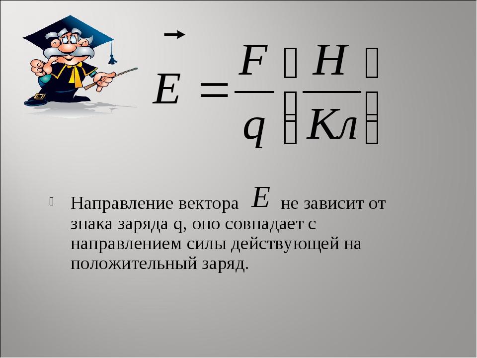 Направление вектора не зависит от знака заряда q, оно совпадает с направление...