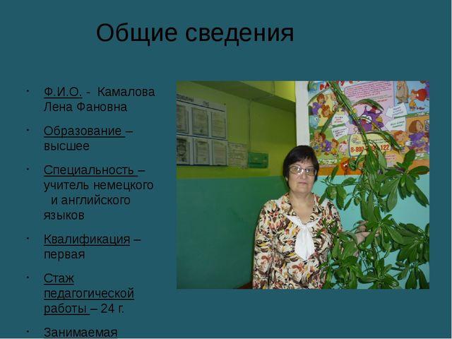 Общие сведения Ф.И.О. - Камалова Лена Фановна Образование – высшее Специально...