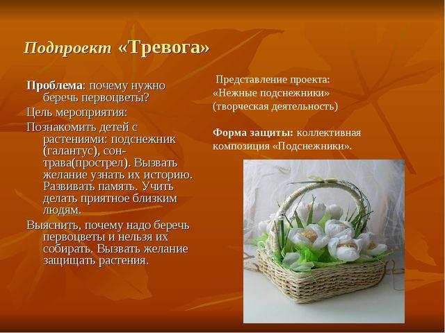 Подпроект «Тревога» Проблема: почему нужно беречь первоцветы? Цель мероприяти...