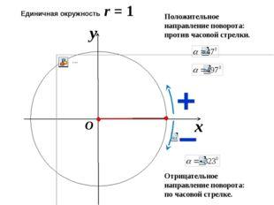 x y O Положительное направление поворота: против часовой стрелки. Отрицатель