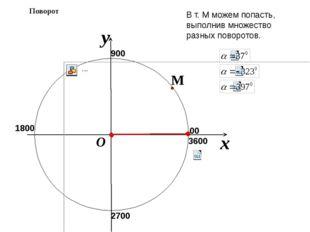 x y O Поворот В т. М можем попасть, выполнив множество разных поворотов. 900
