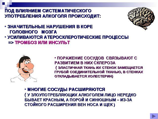 ПОД ВЛИЯНИЕМ СИСТЕМАТИЧЕСКОГО УПОТРЕБЛЕНИЯ АЛКОГОЛЯ ПРОИСХОДИТ: ЗНАЧИТЕЛЬНЫЕ...