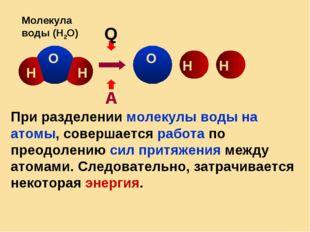 Q А О О Н Н Н Молекула воды (Н2О) Н При разделении молекулы воды на атомы, со