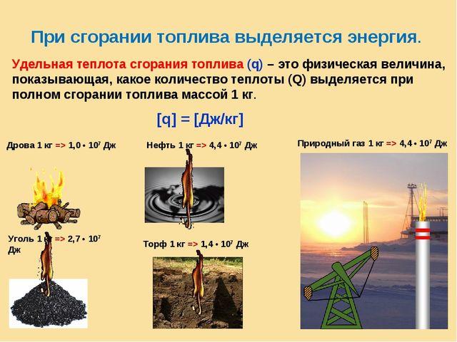 При сгорании топлива выделяется энергия. Удельная теплота сгорания топлива (q...