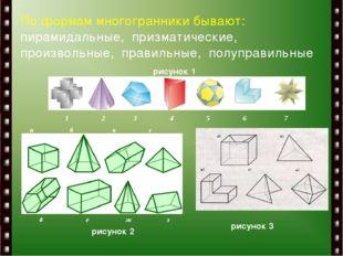 По формам многогранники бывают: пирамидальные, призматические, произвольные,