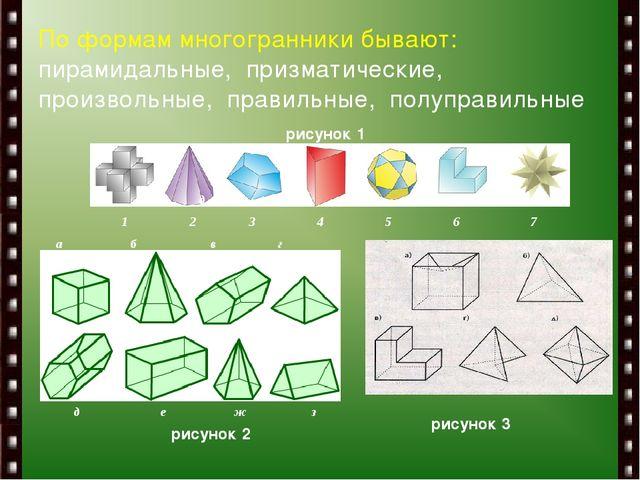 По формам многогранники бывают: пирамидальные, призматические, произвольные,...